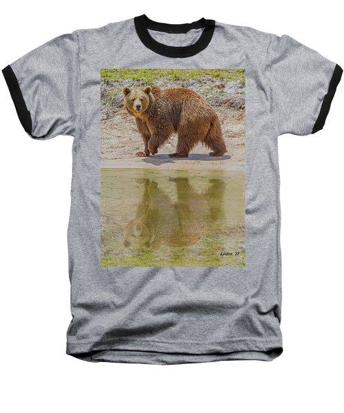 Brown Bear Reflection Baseball T-Shirt