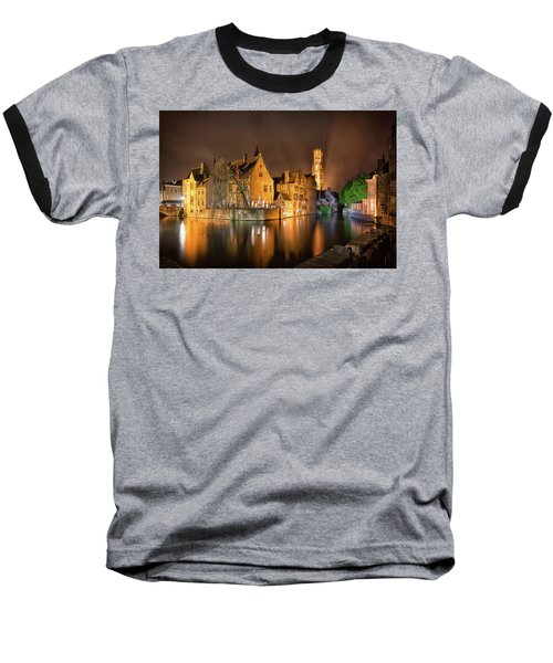 Brugge Belgium Belfry Night Baseball T-Shirt