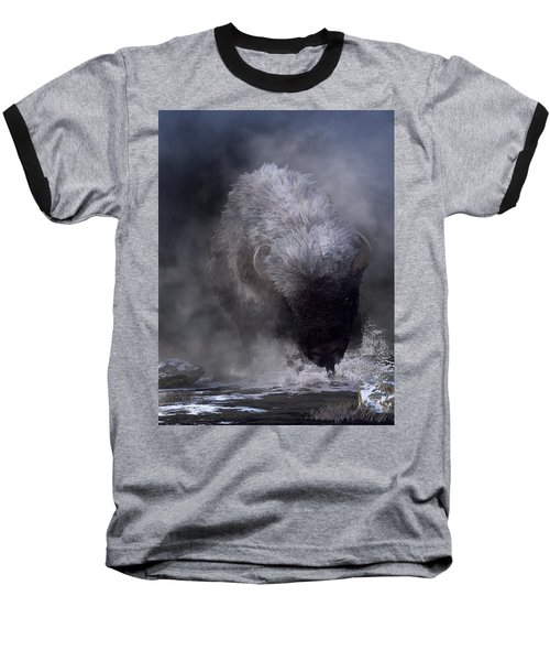 Buffalo Charging Through Snow Baseball T-Shirt