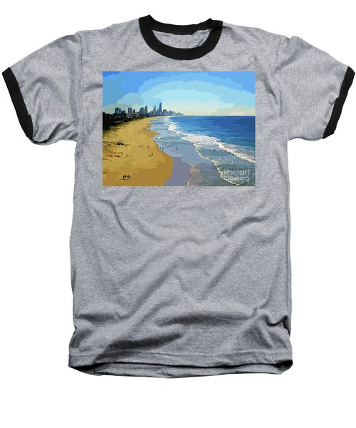 Burleigh Beach Gold Coast Australia 070708 Cartoon Baseball T-Shirt