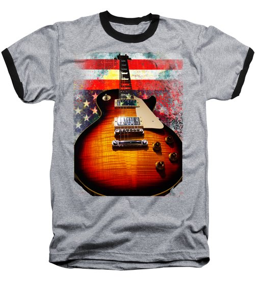 Baseball T-Shirt featuring the digital art Burst Guitar American Flag Background by Guitar Wacky