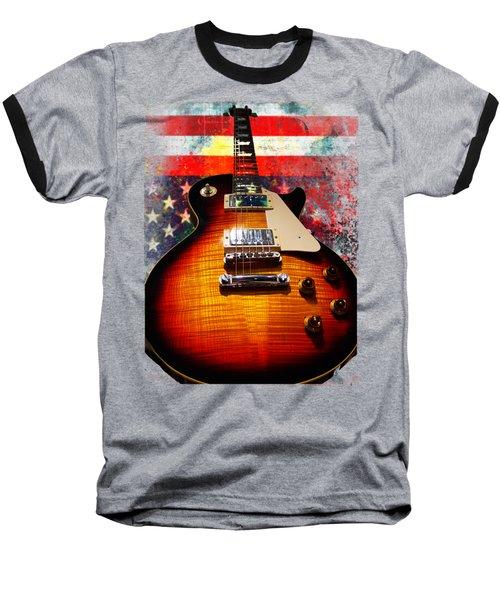 Burst Guitar American Flag Background Baseball T-Shirt