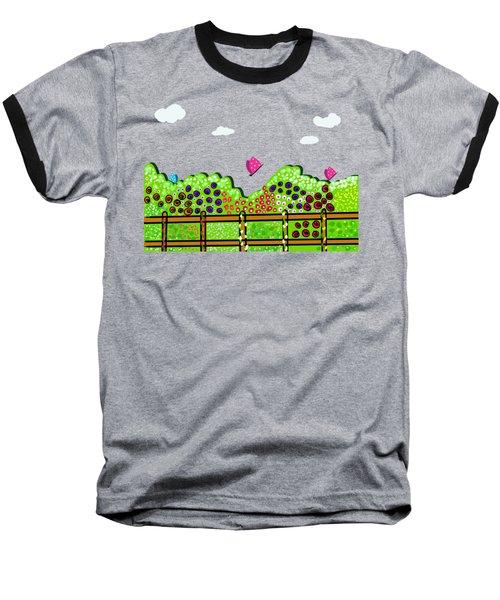Butterflies And Flowers Baseball T-Shirt