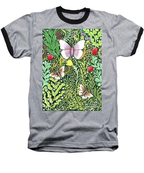 Butterflies In The Millefleurs Baseball T-Shirt