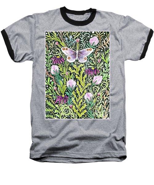 Butterfly Tapestry Design Baseball T-Shirt