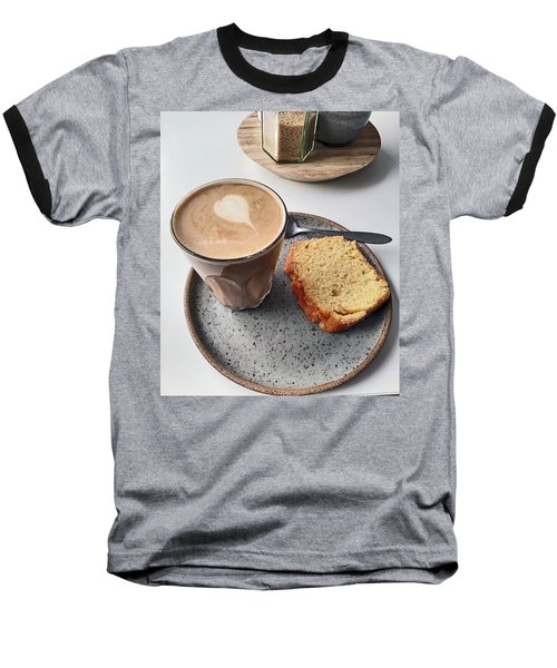 Cafe. Latte And Cake.  Baseball T-Shirt