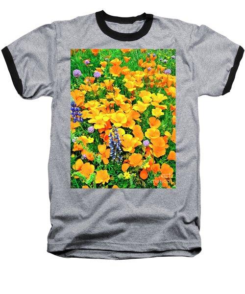 California Poppies And Betham Lupines Southern California Baseball T-Shirt