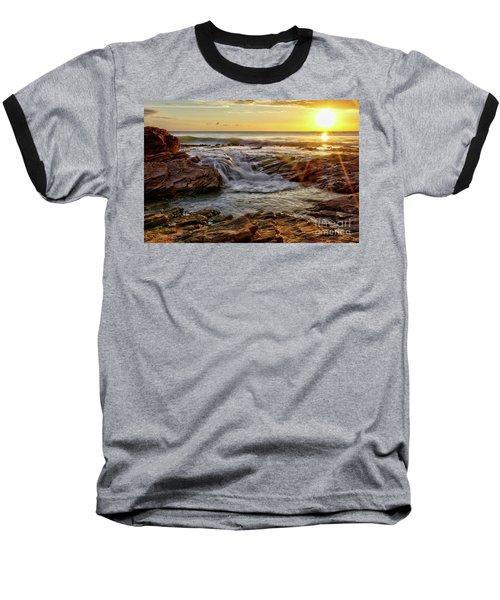 Cascading Sunset At Crystal Cove Baseball T-Shirt