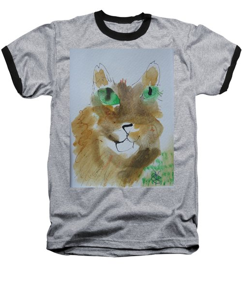 Cat Face Yellow Brown With Green Eyes Baseball T-Shirt