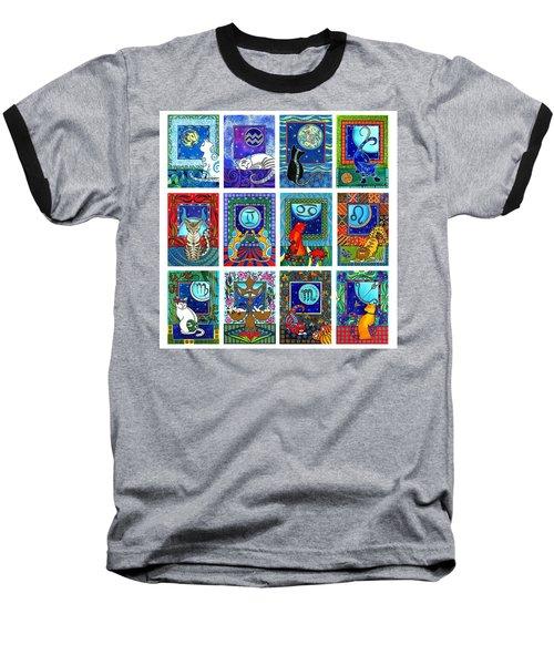Cat Zodiac Paintings  Baseball T-Shirt