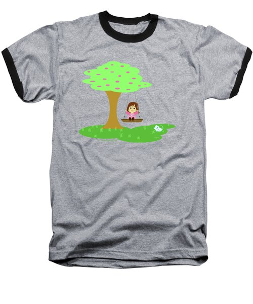 Cathy And The Cat Play In The Swing Baseball T-Shirt