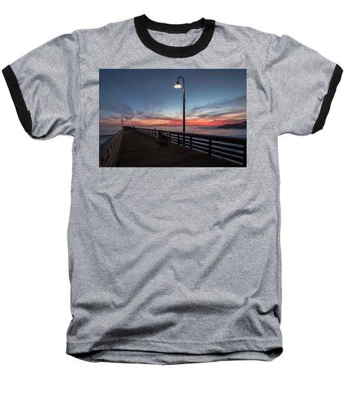 Cayucos Pier Sunset Baseball T-Shirt