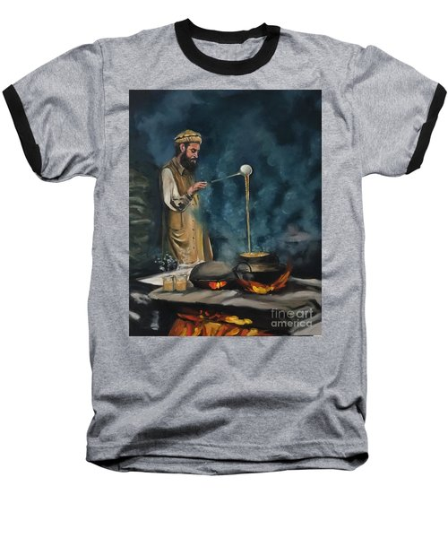 Baseball T-Shirt featuring the painting Chai Wala by Nizar MacNojia