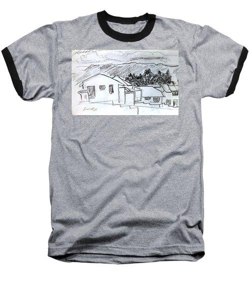 Charcoal Pencil Houses.jpg Baseball T-Shirt