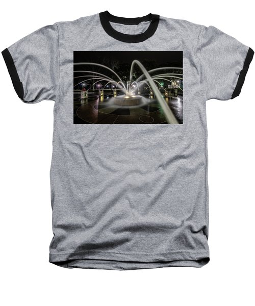 Charleston's Splash Fountain At Night Baseball T-Shirt