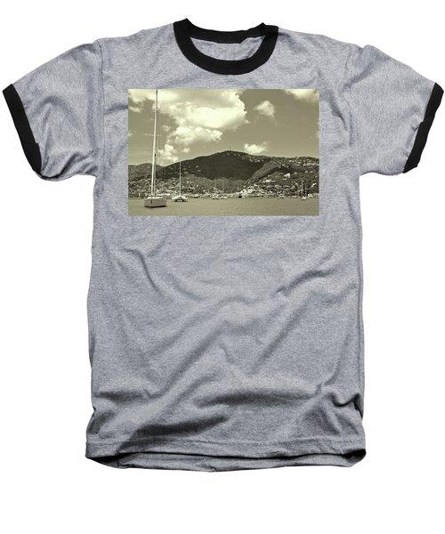 Charlotte Amalie Harbor In Sepia Baseball T-Shirt