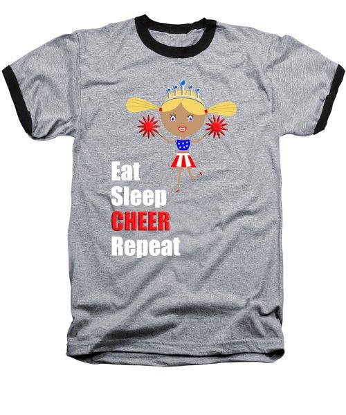Cheerleader And Pom Poms With Text Eat Sleep Cheer Baseball T-Shirt