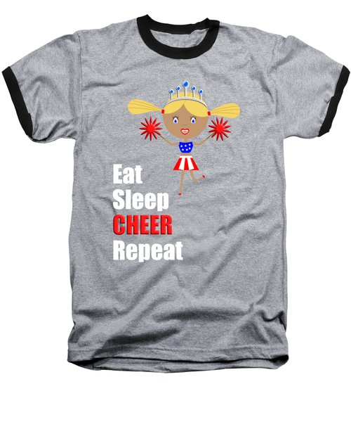 Cheerleader And Pom Poms With Text Eat Sleep Cheer Baseball T-Shirt