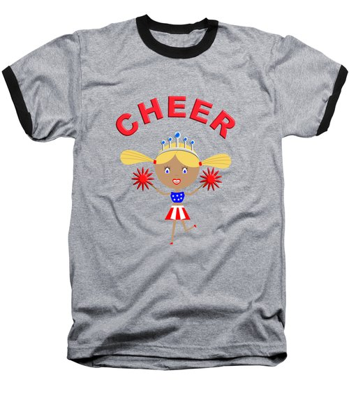 Cheerleader With Pom Poms And Cheer In Arched Text  Baseball T-Shirt