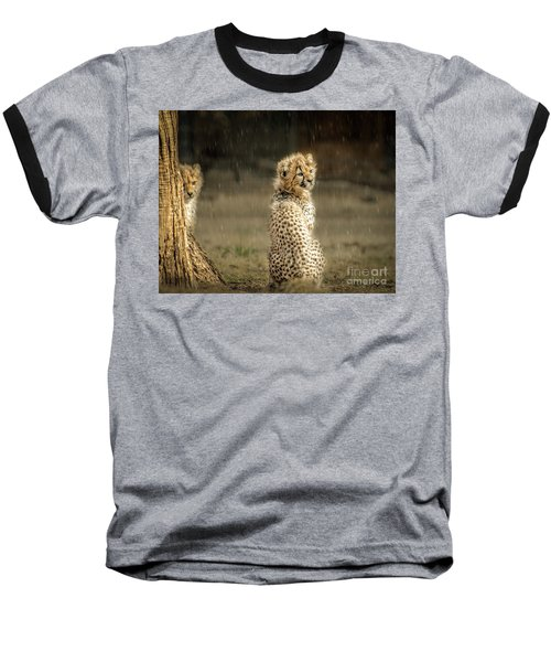 Cheetah Cubs And Rain 0168 Baseball T-Shirt