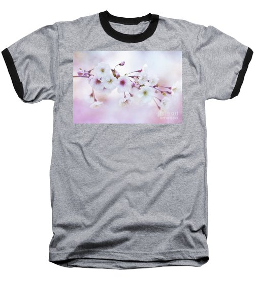 Cherry Blossoms In Pastel Pink Baseball T-Shirt