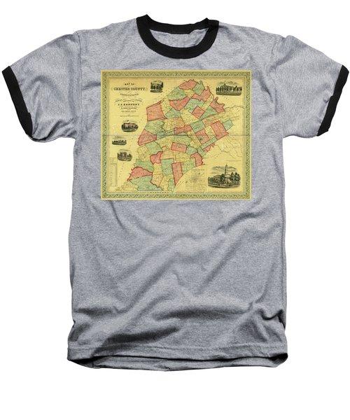 Chester County Pennsylvania Map 1856 Baseball T-Shirt
