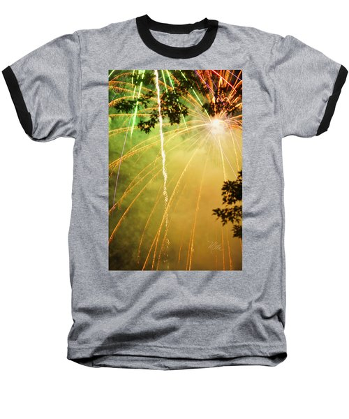 Yellow Fireworks Baseball T-Shirt