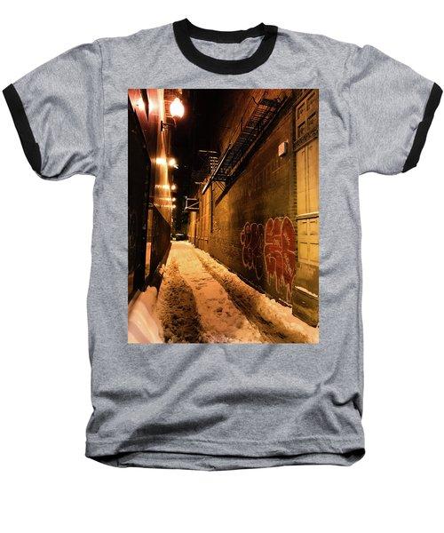 Chicago Alleyway At Night Baseball T-Shirt