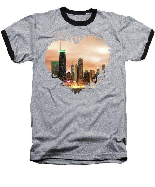 Chicago Gotham City Skyline Panorama Baseball T-Shirt