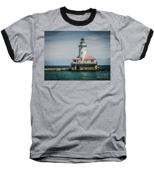Chicago Harbor Lighthouse Baseball T-Shirt