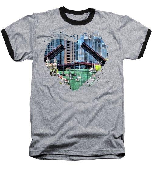 Chicago River Boat Migration Baseball T-Shirt