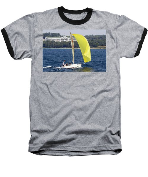 Chicago To Mackinac Yacht Race Sailboat With Grand Hotel Baseball T-Shirt