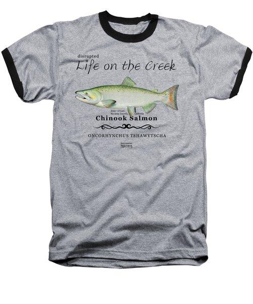 Chinook Salmon Disrupted Baseball T-Shirt