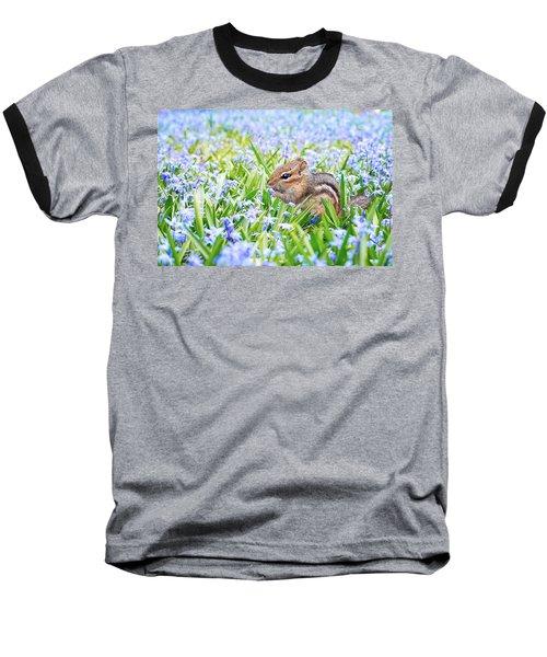 Chipmunk On Flowers Baseball T-Shirt