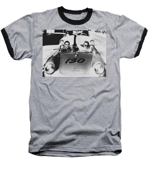 Classic James Dean Porsche Photo Baseball T-Shirt
