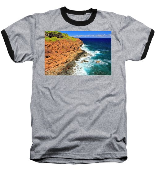 Cliff On Pacific Ocean Baseball T-Shirt