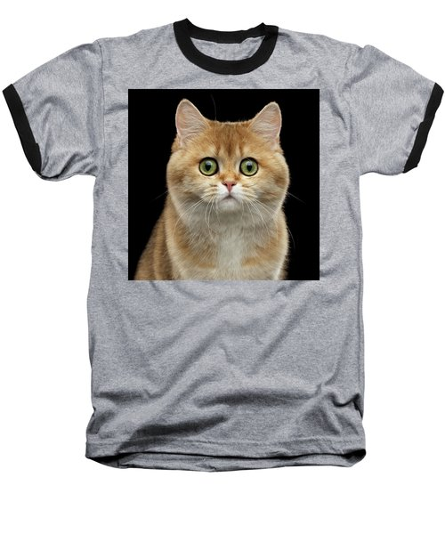 Close-up Portrait Of Golden British Cat With Green Eyes Baseball T-Shirt