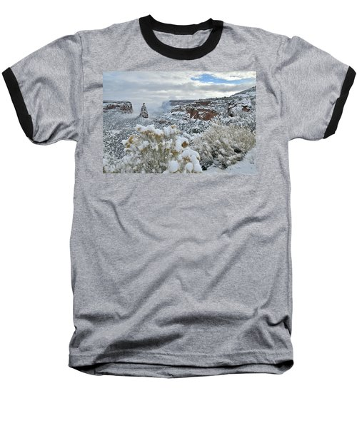Clouds Break Over Snow Covered Independence Canyon Baseball T-Shirt