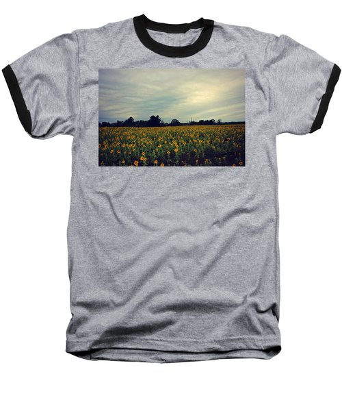 Cloudy Sunflowers Baseball T-Shirt