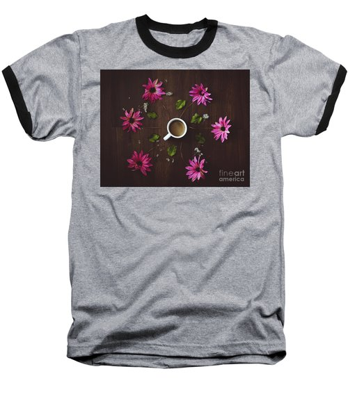 Coffee And Flowers Baseball T-Shirt