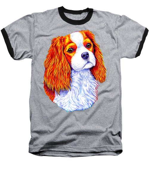Colorful Cavalier King Charles Spaniel Dog Baseball T-Shirt