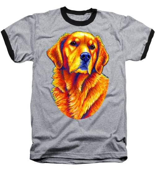 Colorful Golden Retriever Dog Baseball T-Shirt