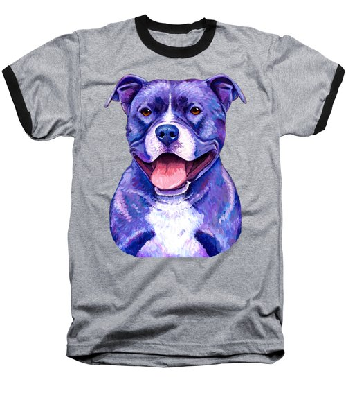 Colorful Pitbull Terrier Dog Baseball T-Shirt