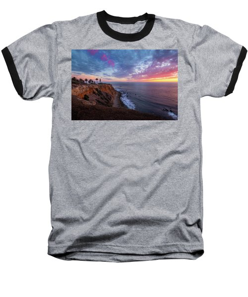 Colorful Sky After Sunset At Point Vicente Lighthouse Baseball T-Shirt