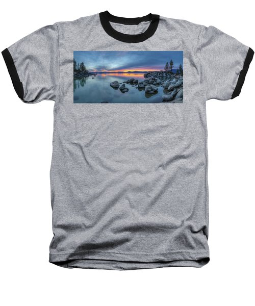 Colorful Sunset At Sand Harbor Panorama Baseball T-Shirt