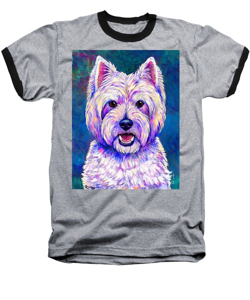 Colorful West Highland White Terrier Blue Background Baseball T-Shirt