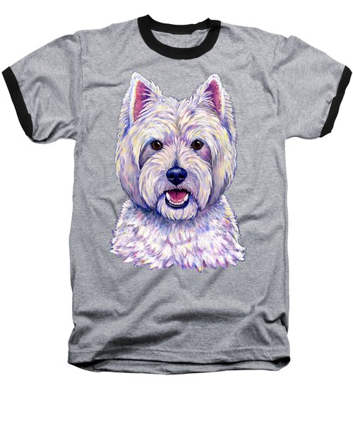 Colorful West Highland White Terrier Dog Baseball T-Shirt