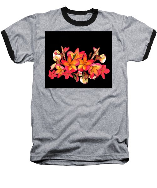 Coloured Frangipani Black Bkgd Baseball T-Shirt