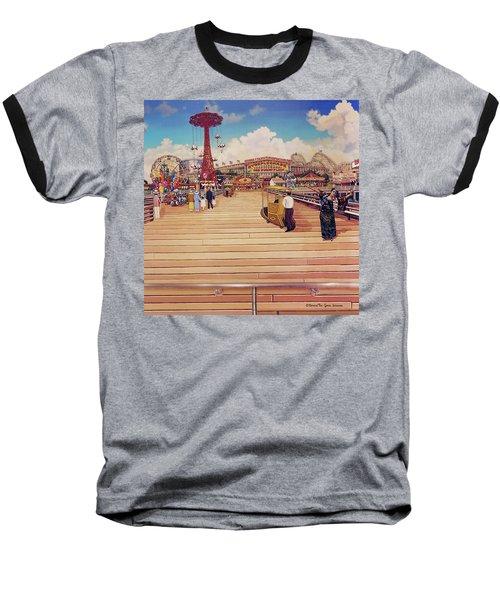 Coney Island Boardwalk Pillow Mural #2 Baseball T-Shirt