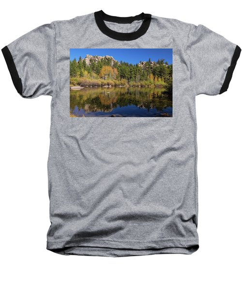 Baseball T-Shirt featuring the photograph Cool Calm Rocky Mountains Autumn Reflections by James BO Insogna